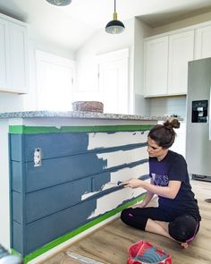 DIY Shiplap Kitchen Island {How to Add Shiplap! Kitchen Island Makeover, Diy Kitchen Island, Kitchen Redo, Kitchen Island Remodel Ideas, Kitchen Ideas, Kitchen Updates, Kitchen Cleaning, Kitchen Inspiration, Kitchen Remodel