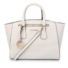 Michael Kors Sophie Large White Satchels #MK #Trends