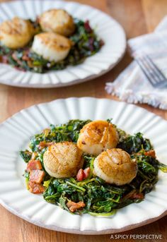 Healthy Seared Scallops with Wilted Greens | ASpicyPerspective.com
