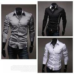 Mens New Luxury Fashion Long Sleeve Casual Slim Fit Stylish Dress Shirts | eBay