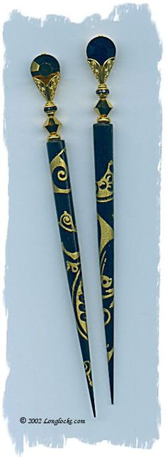 Decoupage Your Hair Sticks!  Golden Night LongLocks GalleryStix Hair Sticks