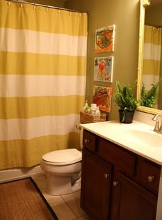 : Gorgeous Yellow And White Striped Shower Curtain Idea Hiding White Shower And Tub From Vanity Area
