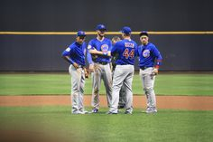 Addison Russell, Kris Bryant, Anthony Rizzo, Javier Baez, #ElMago, Chicago Cubs Win 5-3! @ Miller Park, 9/21/17.