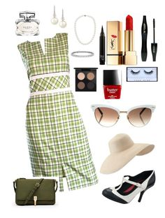 """""""Just Like Mom Used To Wear In The 40's"""" by annabellalovesfashion ❤ liked on Polyvore featuring Oscar de la Renta, T.U.K., Lancôme, Yves Saint Laurent, Gucci, Elizabeth and James, Eric Javits, Blue Nile, Belpearl and Huda Beauty"""