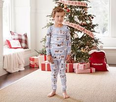 Winter Bear Tight Fit Pajama, 2t Size, Slate Blue