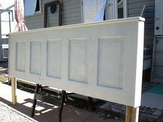 turn an old door into a gorgeous headboard, bedroom ideas, doors, repurposing upcycling, 2x4s attached with screws to the back of the door and a few pieces of trim create a nice frame for the new headboard