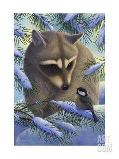 Raccoon and Chickadee in Snow Premium Giclee Print at Art.com