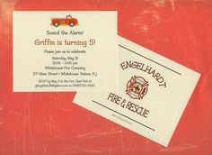 Fire Truck Invitation with Backside Printing