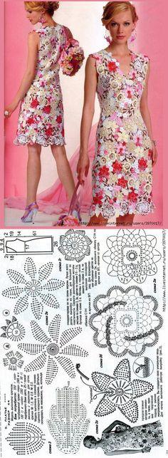 Журнал Мод № 535. ИРЛАНДИЯ-ПЛАТЬЕ КРЮЧКОМ. liveinternet.ru/users/3970017/post216576592/ Freeform Crochet, Thread Crochet, Filet Crochet, Crochet Skirts, Crochet Clothes, Crochet Flowers, Crochet Lace, Irish Clothing, Irish Crochet Patterns