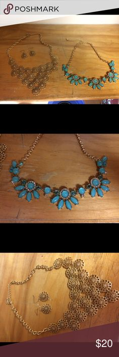 Statement Necklaces Statement Necklaces: Only worn a couple of times. Great condition! Matching earrings included. Jewelry Necklaces