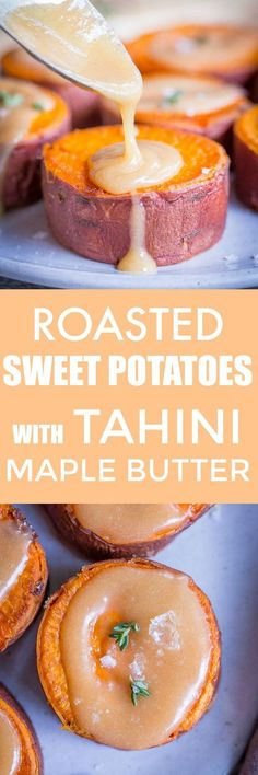 Roasted Sweet Potatoes with Tahini Maple Butter - These delicious sweet potatoes are a perfect side dish that is vegan and gluten free! The sweet potatoes melt in your mouth and the sauce is amazing! #Thanksgiving #Side #Vegan #GlutenFree #SweetPotatoes