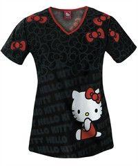 Cherokee Tooniforms Hello Kitty Red Bow Print Scrub Top