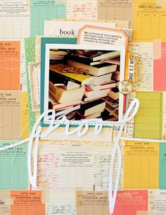 """Lovely layers make up this scrapbook page, """"Proof"""" by Jill Sprott. Love the title stitched to the page and so much about it. Scrapbook Sketches, Scrapbooking Layouts, Digital Scrapbooking, Scrapbook Paper Crafts, Scrapbook Cards, Paper Crafting, Date, October Afternoon, Reading Library"""