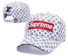 e6f3a75e12e1b Louis Vuitton LV X Supreme Cap Fashion White Black. Baseballcapsoh · Supreme  Snapback Hats
