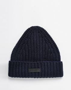 Chapeau par Jack & Jones Grosse maille côtelée Revers Étiquette logo Lavage en machine 70% acrylique, 30% laine