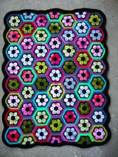 Granny Squares Crochet Rug...Crochet Colorful Afghan...Knitted Patchwork Flowers...
