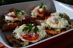 Duplasajtos-gombás csirkemell Recept képpel - Mindmegette.hu - Receptek Bruschetta, Mozzarella, Baked Potato, Food And Drink, Potatoes, Baking, Ethnic Recipes, Potato, Bakken