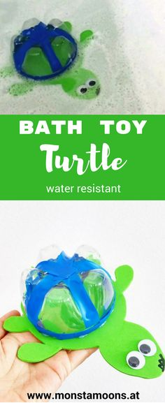 So machst du eine Badeschildkröte, bath toy turtle, turtle craft, Schildkröte basteln, Badespielzeug basteln, Monstamoons, Upcycling von Flaschen