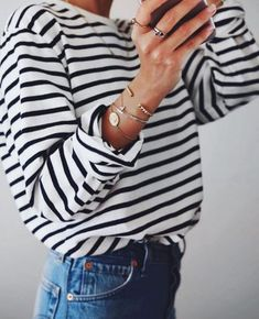 Denim, stripes, bracelets and rings