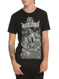 Black T-shirt from Thy Art Is Murder with large horned priest design on front.
