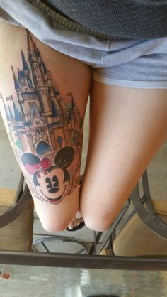 See 1 photo from 3 visitors to Pancho's Tattoos. Cute Disney Tattoos, Disney Sleeve Tattoos, Mickey Mouse Tattoos, Tattoo Disney, Leg Tattoos, Body Art Tattoos, Small Tattoos, Tatoos, Castle Tattoo