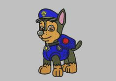 Paw Patrol Embroidery - Chase Design - 3 sizes Instant Download