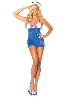 Sailor Costume Adult Pin-up Girl Outfit Halloween Fancy Dress , Sailor Halloween Costumes, Halloween Costumes For Teens Girls, Cute Costumes, Halloween Fancy Dress, Halloween Outfits, Costumes For Women, Adult Halloween, Adult Costumes, Halloween Ideas
