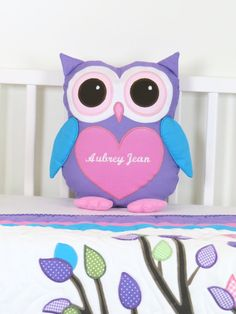 Owl  Pillow  Baby Owl  Monogram Pillow  by Customquiltsbyeva