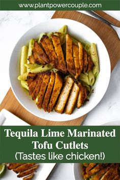 These Tequila Lime Tofu Cutlets are perfect for tofu tacos, quesadillas, or Mexican-inspired dinner bowls and salads! They are easy to make with a quick tequila-infused chili lime marinade, and slow-baked until they are crispy on the outside and meaty on the inside! You'll love to add this healthy tofu recipe for your weekly meal prep. They are freezer-friendly too! #tofu #veganuary #plantbased #vegan Vegan Meat Recipe, Tofu Recipes, Healthy Recipes, Tofu Tacos, Vegan Tacos, Dairy Free Queso, Marinated Tofu, Dinner Bowls, Taco Bowls