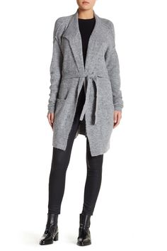 Obsessed with this Velvet By Graham & Spencer Grey Belted Boucle Knit Cardigan