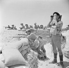 1942 Battle of El Alamein - British Infantry manning a sandbagged defensive position awaiting Rommels Panzer unit