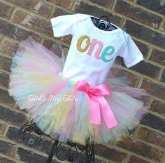 Elegant Pink, Aqua, and Gold Glitter Birthday Tutu Outfit...www.ticklemytutu.com