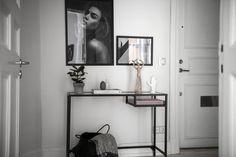 in the hallway hallway shelf, ikea vittsjo, minima Entryway Table Ikea, Ikea Hallway, Hallway Shelf, Console Table Styling, Console Tables, Ikea Vittsjo, English Interior, Gravity Home, Apartment Entryway