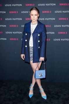 GET THE LOOK - Brie Larson celebrity style Night out outfit, navy pea coat, baby blue strappy pumps and crossbody purse, navy mini skirt and white pattern sweater #Celebrityfashion #BrieLarsonStyle