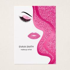 Makeup artist business card with glitter effect - stylist business cards cyo personalize businesscard diy