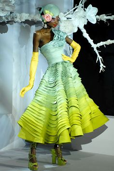 2007 Dior Couture dress ... love the colors and the horizontal pleating!