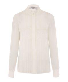 Empiècement en dentelle Valentino plissé en soie à-Chemisier en mousseline | Womenswear | Liberty.co.uk