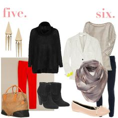 Outfit six - Old Navy striped top, Top Shop scarf