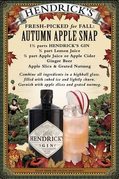 Turning leaves herald the arrival of the curiously refreshing Autumn Apple Snap, a delicious cocktail combining the crisp sweetness of freshly picked fruit with the spicy zing of ginger and a bewitching flurry of nutmeg. An ideal companion for all orchard romps, monster mashes and cider-pressing parties.