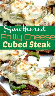 Smothered Philly Cheese Cubed Steak is part of Beef cube steak recipes Tenderized sirloin provides the base for these gooey Smothered Philly Cheese Cubed Steaks topped with sweet onions, bell pepper - Beef Cube Steak Recipes, Healthy Steak Recipes, Beef Cubed Steak, Skirt Steak Recipes, Meat Recipes, Dinner Recipes, Cooking Recipes, Recipes With Pork Cubes, Best Cubed Steak Recipe