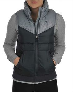Womens, Ladies Nike Padded Gilet Bodywarmer Jacket Coat Vest Tank Top - Grey