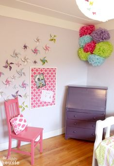 Paper pinwheels are a fun way to add a little whimsical touch to a child's room.