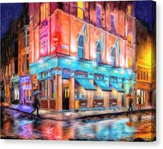 Dublin Canvas Print featuring the painting Dublin In The Rain by Mark Tisdale