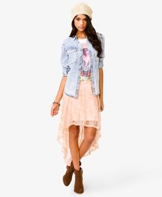 Lace High-Low Skirt | FOREVER21 - 2021365000