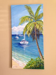 "Calm"" - acrylic on canvas by Kara Julian (Kara's Glass Garden) -""Caribbean Calm"" - acrylic on canvas by Kara Julian (Kara's Glass Garden) - Great art by ID: (Döuyin App) Sailboat Art Original Painting Nautical Decor inch Cute Canvas Paintings, Easy Canvas Painting, Seascape Paintings, Beautiful Paintings, Canvas Art, Heart Canvas, Art Painting Gallery, Oil Painting Flowers, Malm"