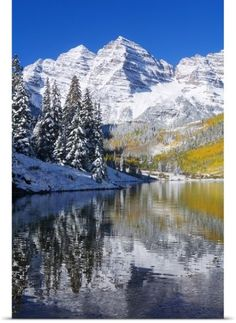 Ron Dahlquist Poster Print Wall Art Print entitled Colorado, Near Aspen, Landscape Of Maroon Lake And Maroon Bells, None