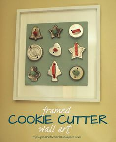 Have extra cookie cutters?? Hang them on a frame for display!  Cute way to use grandma's cookie cutters!
