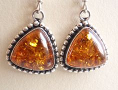 Sterling Silver Beaded Triangle Amber Earrings French Hooks Vintage Estate by Cutterstone at Etsy.com- awesome shop!