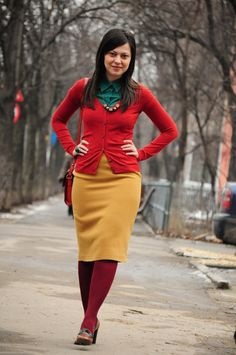 Miss Green: Thrifted world - the sequel Fall Fashion Skirts, Fall Fashion Trends, Look Fashion, Winter Fashion, Fashion Outfits, Modest Outfits, Cute Outfits, Miss Green, Mustard Skirt