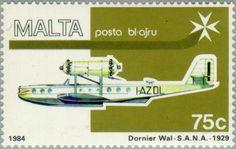 Stamp: Marina Fiat MF.5 flying boat (Malta) (Air Malta 1984) Mi:MT 703,Sg:MT 735